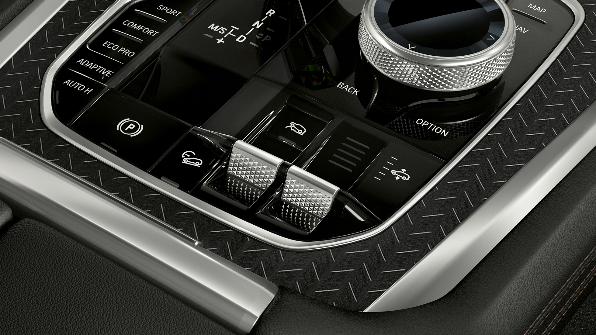 Close-up of the BMW X6 interior with view of the centre console.