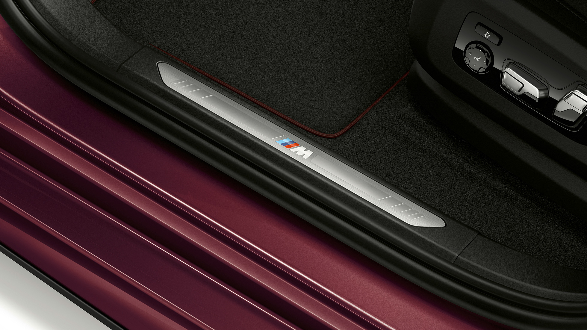 BMW X6 Individual interior with close-up of door sill.