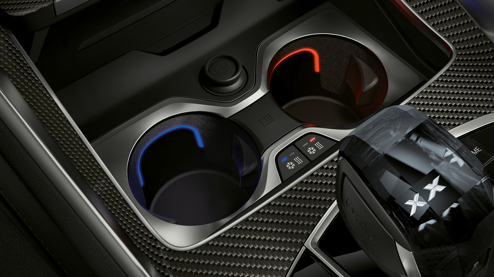 Close-up of the BMW interior with focus on temperature-controlled cupholder.