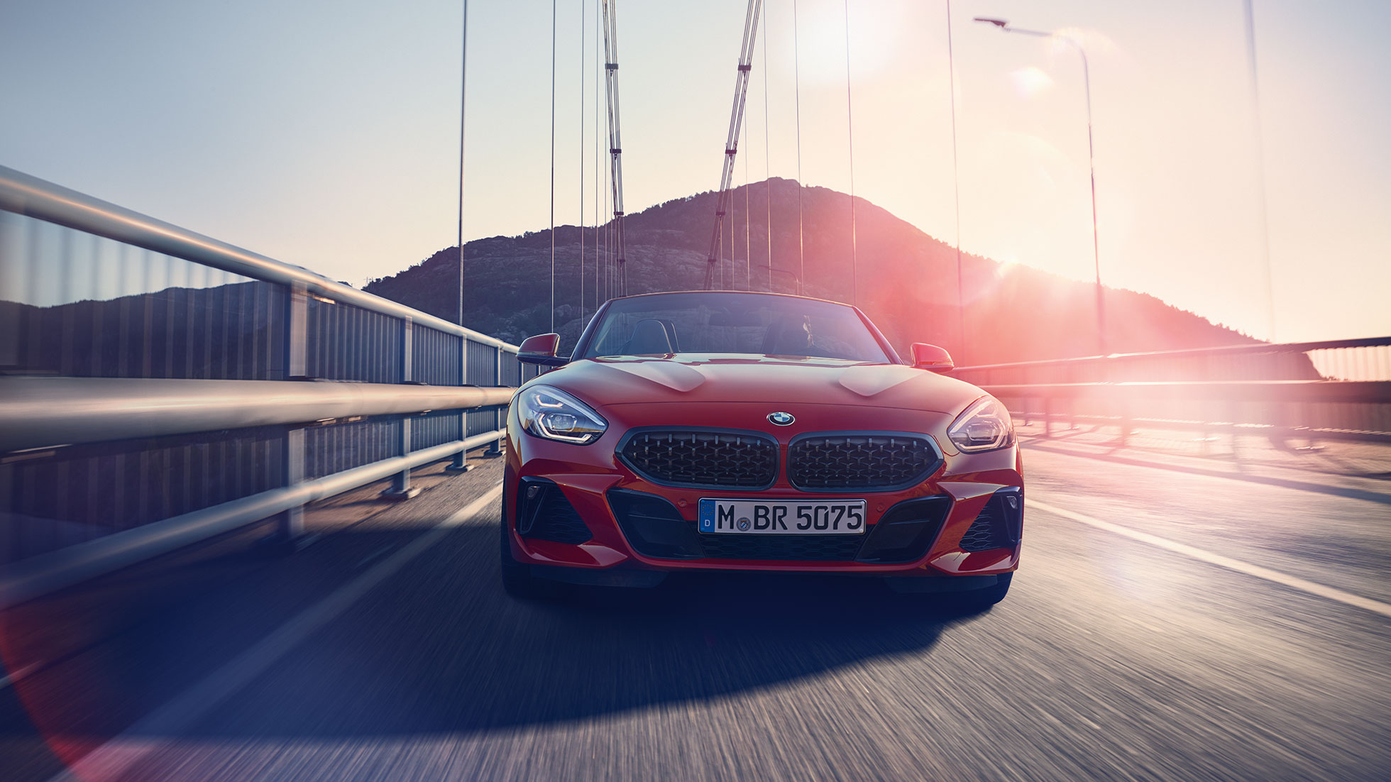 Front shot of the BMW Z4 Roadster on a bridge