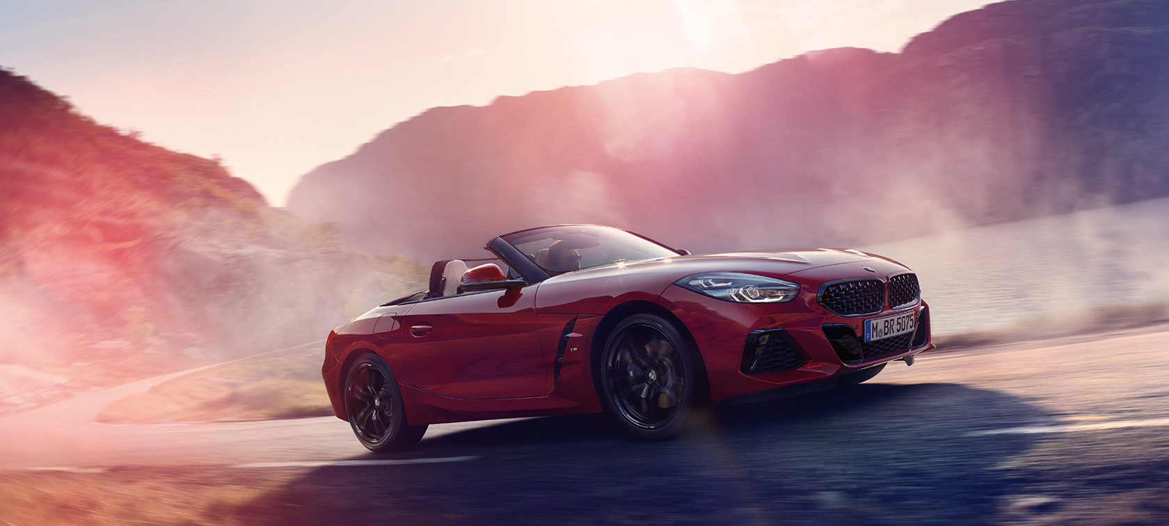 BMW Z4 Roadster climbing a hill